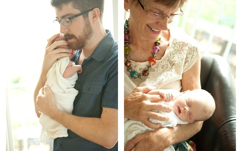 Newborn Father and Grandmother
